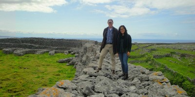 Professors Richardson and Townsend explore Dún Chonchúir, an ancient stone fort on Inis Meain, one of the Aran Islands. Students learned about the history of the island and J.M. Synge's anthropological study of its inhabitants.