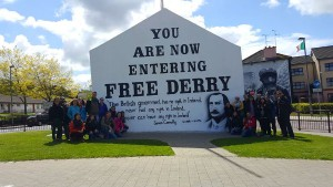 A walking tour of Derry city and its many political murals introduced students to the history of the Northern Irish Troubles.